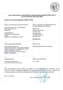 Bio-Zertifikat; bis 31.03.22