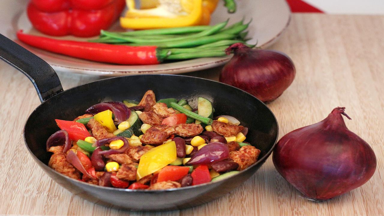 Rezept Sobo Soja Schnetzel Pfanne Zubereitung vegetarisch vegan fleischersatz